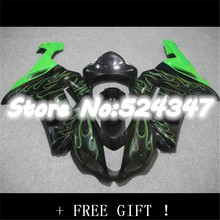 Hot Sales,For Kawasaki Ninja ZX6R 2007 2008 ZX 6R 07 08 ZX-6R Green flames in black bodywork fairing kit-Hey for Ninja(China)