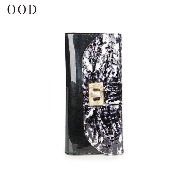 OOD Female Wallets Genuine Leather Multifunction Wallet Serpentine Clutch Luxury Women Wallets Patent Leather Brand Lady Purse<br>