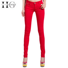 HEE GRAND Women's Candy Pants 2017 Pencil Jeans Ladies Trousers Mid Waist Full Length Zipper Stretch Skinny Women Pant WKP004(China)