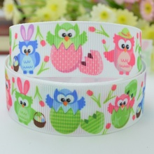 "50Y Free shipping 7/8"" 22mm cute Easter Owls grosgrain ribbon hairbow headwear party decoration diy wholesale OEM Y0294"