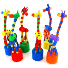 Colorful Rocking Giraffe Toy For Baby Stroller Pram Accessories  Toddler Kids Educational Wooden Blocks Toys