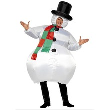 Snowman Inflatable Costume Funny Costume Blow-up Snowman Santa Party Fancy Dress One Size Suitable for Adult 160-200cm Clearance