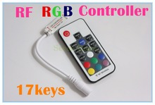 1pcs/lot,DC 5V-24V 12A 17key mini RF wireless led RGB remote Controller with 4pin female DC for RGB LED Strip Lights