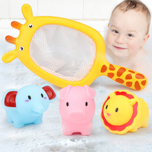 1 Sets Fishing Net Pick up Rubber Squeeze Fountain Animals Summer Play Water Bath Toys kids Bathroom Swimming Pool Mesh Fish Toy