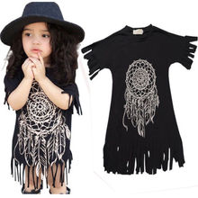 Girls Dress 2016 spring summer style children's clothing tassel dress personality style casual baby black wild fringed Dresses(China)