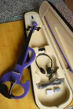 Factory direct sale 4/4 purple electric Violin+Case+Bow+Rosin+Earphone+Power cord for beginner