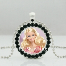 2017 New Barbie Crystal Necklace Birthday Wishes Doll Crystal Pendant Glass Barbie Jewelry Ball Chain Necklaces