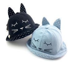 2017 High Quality 100% Cotton Soft Bucket Hat Kids Cute Cartoon Pussy Ears Visor Cap For 1-4 Years Old Children Spring Autumn