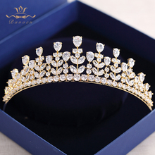 Bavoen luxury clear Zircon crystal tiara crown wedding hair bands Evening Hair Jewelry headbands(China)
