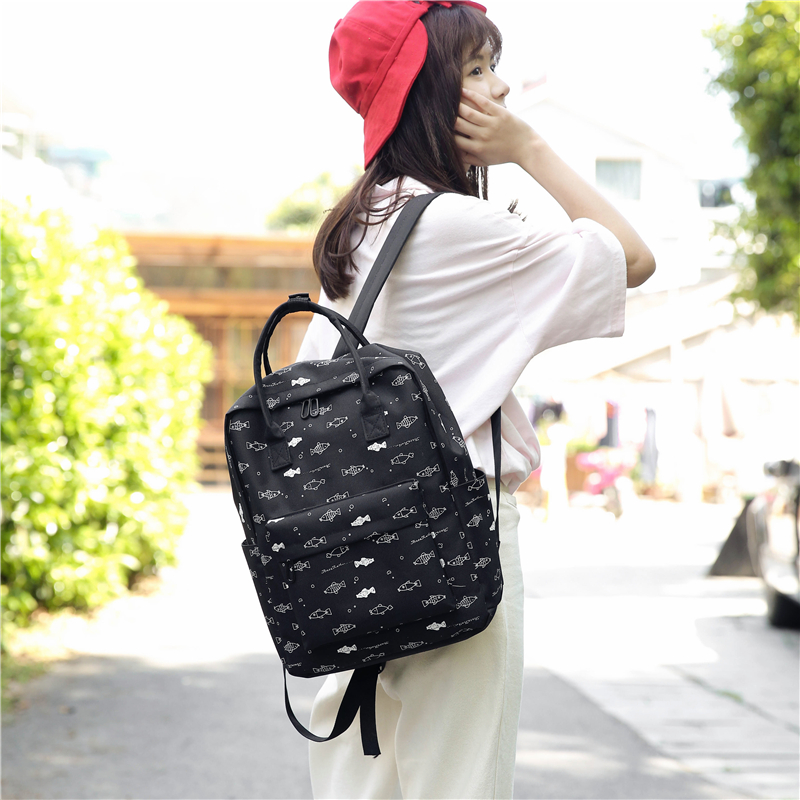 Menghuo Fish Printing Women School Bag Backpack for Teenage Girls Backpacks Female Canvas Children Schoolbag Women Bag s (55)