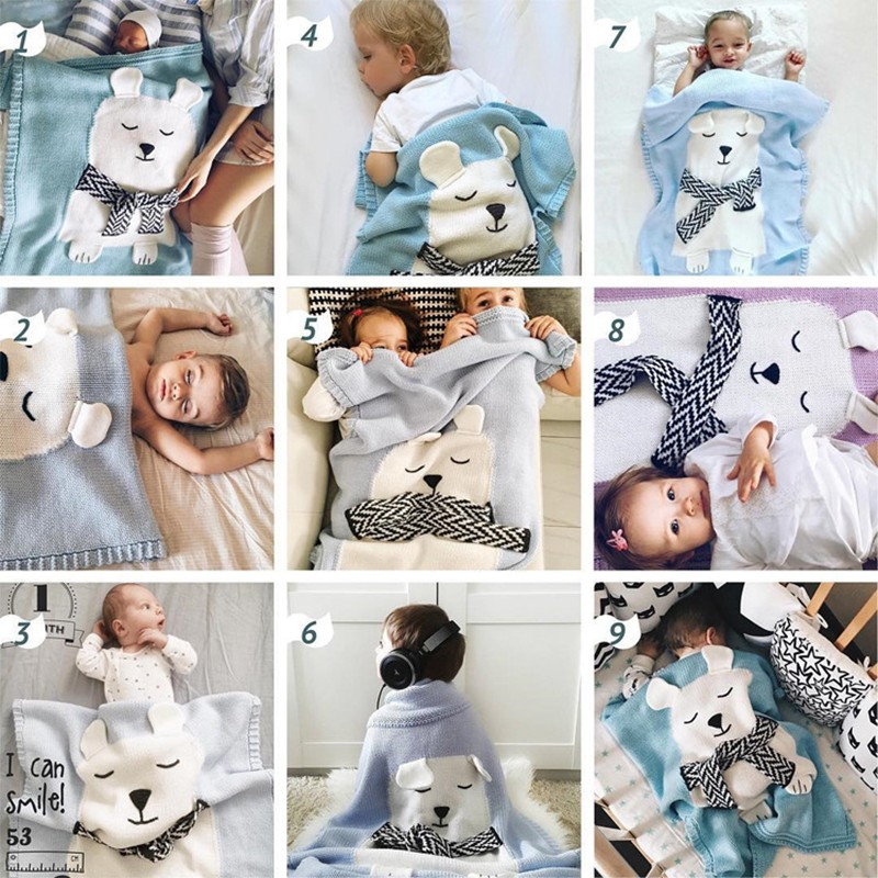 MOTOHOOD Cute Bear Cotton Baby Blankets Newborn Fashion Knitted Muslin Swaddle Wrap Baby Decoration Room Photography Accessories (8)