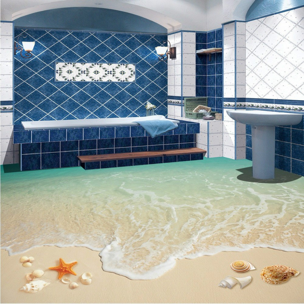 Free Shipping Surf Beach Living Room Bathroom 3D Floor Tile Painting wear non-slip restaurant study flooring wallpaper mural<br>