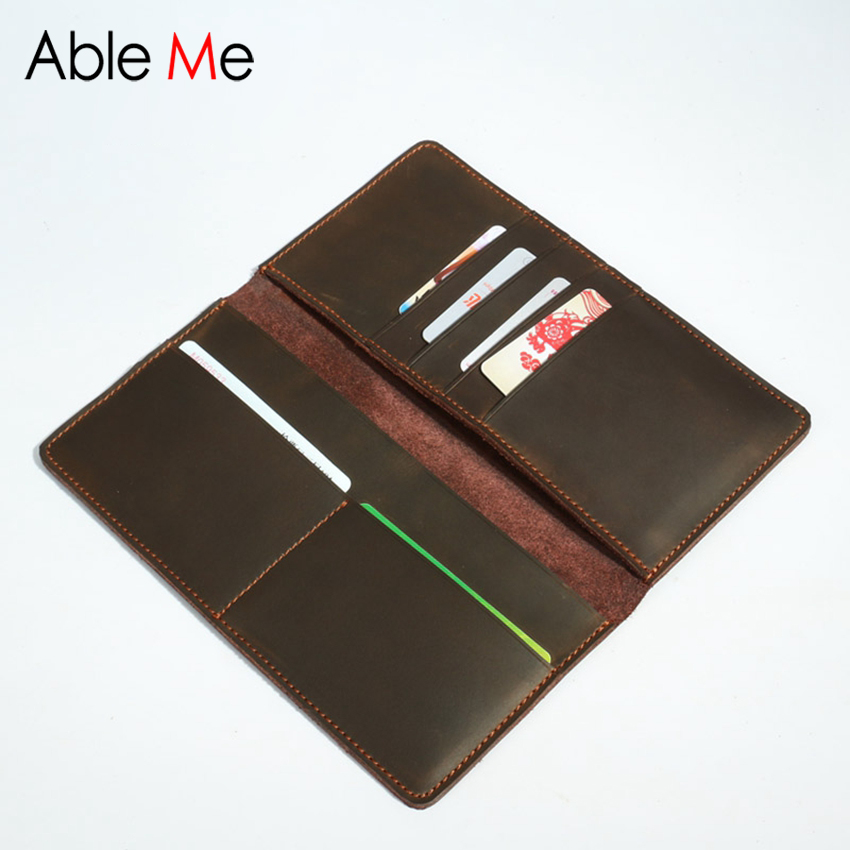 Two Folded Handmade Leather Men Wallet High Quality Design For You Custom Long Section Purse Vintage Style Money Clip<br><br>Aliexpress