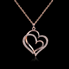 Rose Gold Color Chain Necklaces & Pendant For Women Handmade Drawing Brushed Crystal Double Heart Hollow Pendant Necklace Bijoux(China)