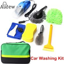 8Pcs Car Wash Interior&Exterior Cleaning Kit Vacuum Cleaner+Shovel+Sponge+Glove