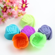 10X PACS Fancy Silicone Rose Muffin Cup Cake Baking Mold Chocolate Jelly Maker Mould-P101(China)