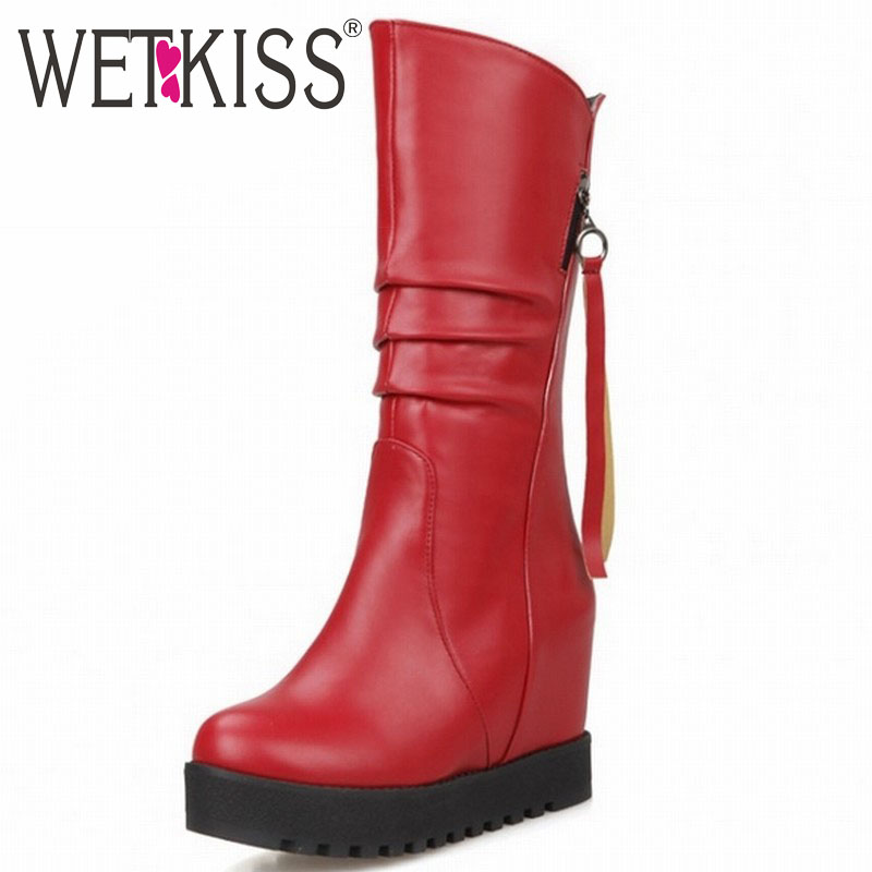 WETKISS Big Size 32-52 Pleated Mid calf Boots Brand Hidden Wedge High Heels Platform Boots Fall Winter Boots Women Shoes Woman<br>