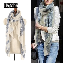 2017 160*70cm High quality Blue and White Porcelain Style Thin Section the Silk Floss Women Scarf Shawl