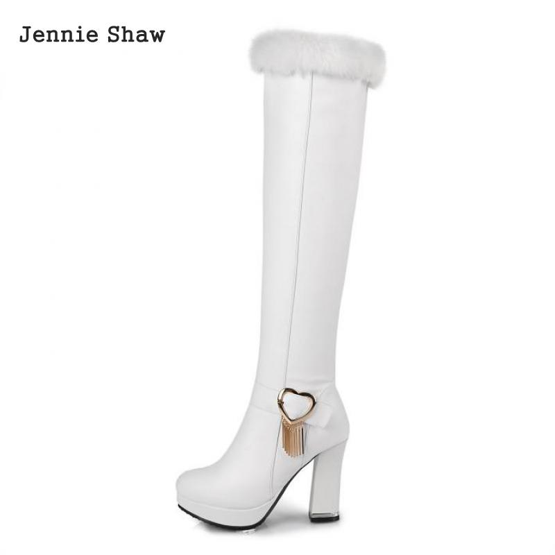 Winter Rabbit Fur Women High Boots White Black Knee High High-heeled Shoes Over The Knee Sys-1432<br>