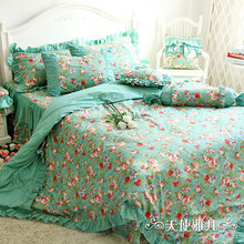 Designer Mint Green Bedding Set Elegant American Country Style Vintage Floral Comforter Set Romantic Fairy Girls Bed In A Bag(China)