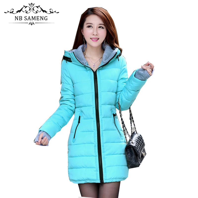 2017 New Fashion Women Long Coat Hooded Padded Cotton Slim Female Parkas Casual Basic Jackets Wadded Plus SizeÎäåæäà è àêñåññóàðû<br><br>