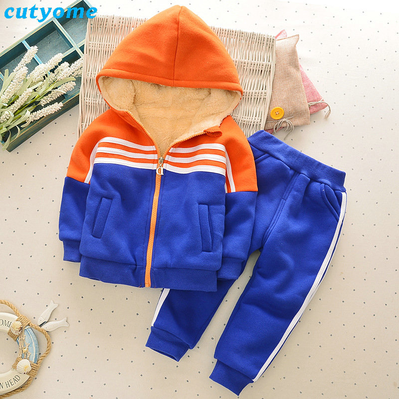 Children Clothing Set Thick Hooded Jacket+Pants Kids Winter Down Coat Toddler Girls Boys Clothing Baby Clothes Boys Set Outfits<br>