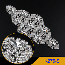 1pcs Silver Rhinestone Applique Crystal clear Horse-eye stone sew on appliques use for wedding dress ornament K275-S