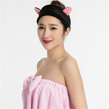 1 PC Fashion Women Lady Face Wash Headband Cute Ears Head Wrap Hairband Handmade Makeup Sports Cotton Headhand Accessories