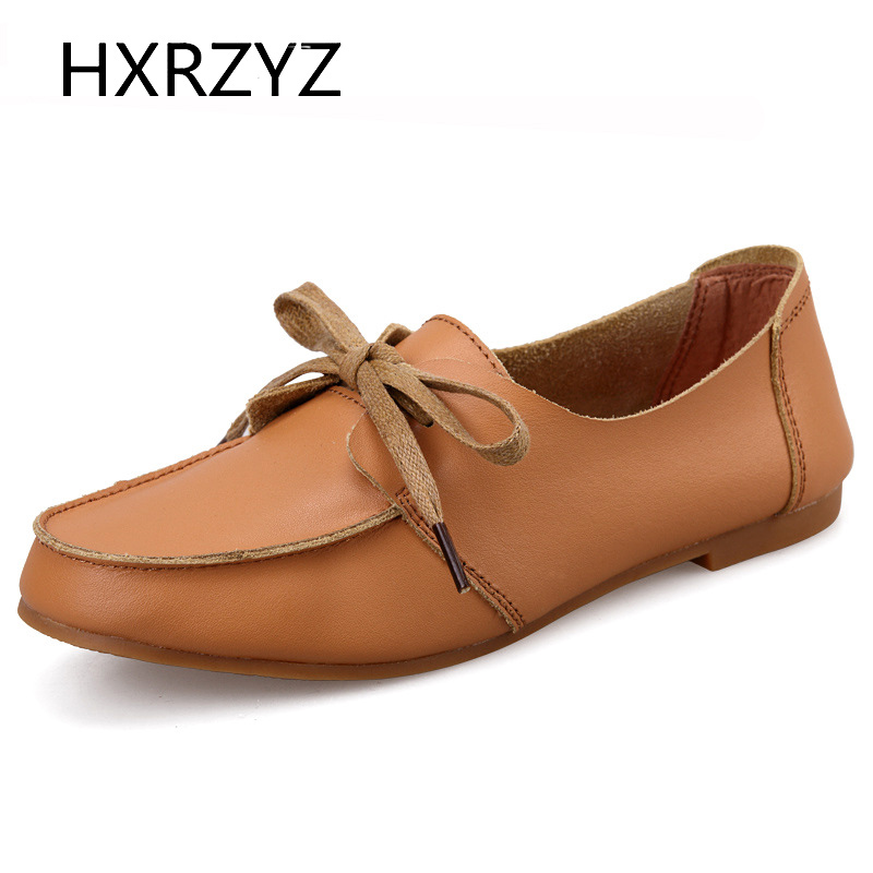 Brand HXRZYZ Spring and Autumn new flat shoes for women leather casual shoes ladies moccasin black flats zapatillas mujer<br><br>Aliexpress