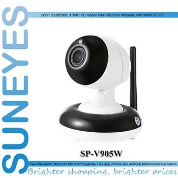 SunEyes SP-V905W 960P 1.3MP HD Wireless PTZ IP Camera with Pan/Tilt 2.8-8mm Optical Zoom Auto Focus 1/3 Sensor Low Lux IR Night
