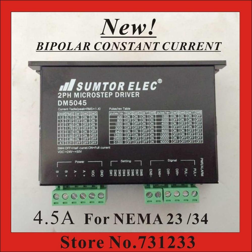 New! CNC NEMA 17 23 34 Stepper Motor Driver DM5045 1.0-4.5A DC24-50V 256 Subdivison PWM Constant Current Driver<br>