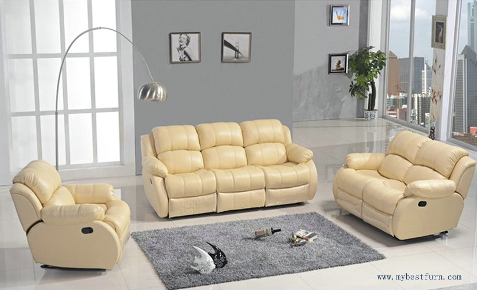 Recliner Sofa Set Modern Design 1 2 3 Sectional Sofas Reclining Chair With Shake Retation Function Genuine Leather Online