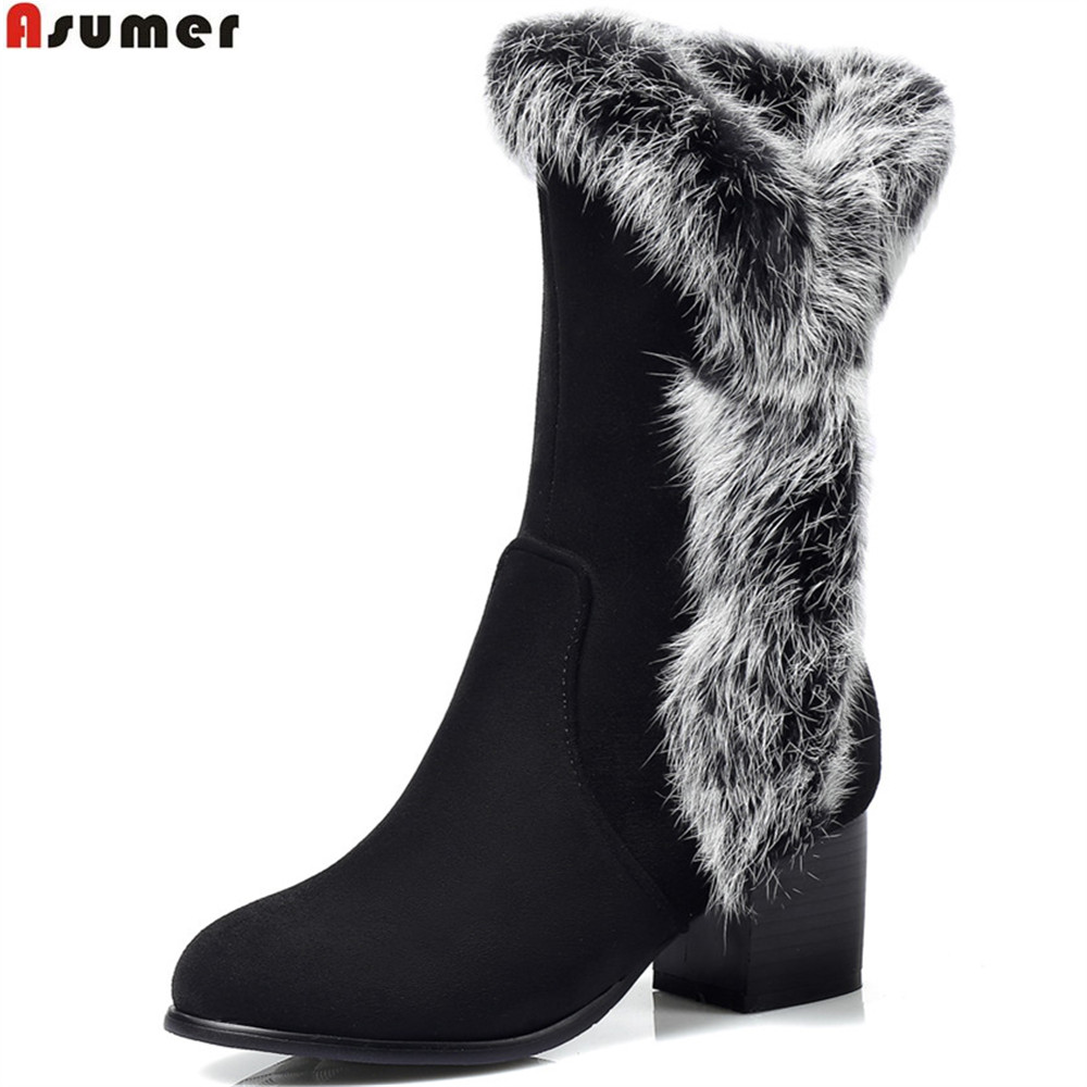 ASUMER black beige fashion women boots round toe zipper square heel flock ladies boots fur ankle boots plus size 32-45<br>