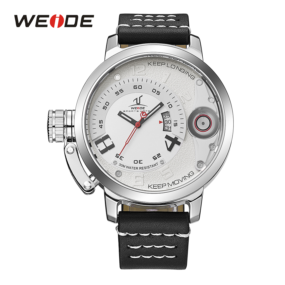 WEIDE Men Analog Calendar Date Leather Strap Band Buckle Hardlex Men Fashion Sport Quartz Movement Hardlex White Dial Wristwatch<br>