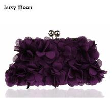 2017 Velour Petal Clutch bag Handbag Fashion Flower Evening Bags Wedding Bridal Day Clutches Purse Shoulder Bag ZD510