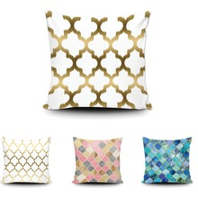 Art Morden Golden Moroccan Cushion Cover Geometric Throw Pillow Home Sofa Bed Couch Cobalt Blue Custom Gift Cotton Pillow Case
