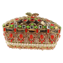 Vintage Beaded Red Clutch Purse Embellished Crystal Clutch Evening Bags Gorgeous Chinese Make Clutch Bridal Purse for Weddings(China)