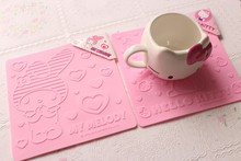 Love cartoon hello Kitty silicone square cup mat insulation mat table placemat