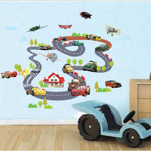 2016 New Cartoon Highway Track Car Wall Stickers Home Decoration Sticker for Kids Room Wall-paper