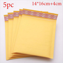 5 Pcs/set Yellow kraft paper Bubble Envelopes Gifts Package Mailers 14*16cm+4cm