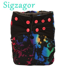 [Sigzagor]1 Charcoal Bamboo Baby Cloth Diaper Nappy Washable Reusable,Double Gusset,Square Tabs,3kg-15kg NO INSERT