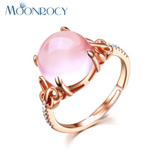 MOONROCY Free Shipping Cubic Zirconia Rose Gold Color Ross Quartz Crystal Pink Opal Ring Jewelry Wholesale for Women