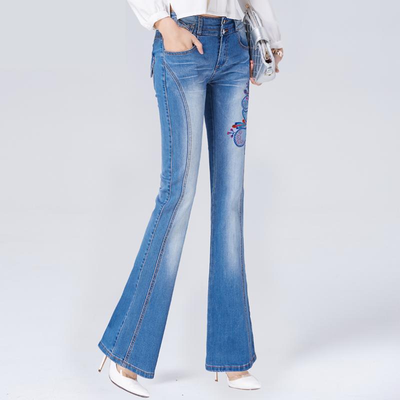 FINEWORDS 2017 High Waist Plus Size Vintage Light Blue Embroidered Bell Bottom Jeans Skinny High Elasticity Wide Leg Flare PantОдежда и ак�е��уары<br><br><br>Aliexpress