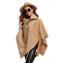 Buy 2017 New Autumn Winter Clothes Coats Womens Irregular Loose Bat Sleeves Turn-down Neck Fashion Irregular Poncho Cape Coat for $12.64 in AliExpress store
