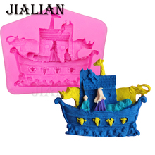 3D Noah's Ark ship handmade soap mold cake decorating tools DIY boat baking cooking fondant silicone mould T0137(China)