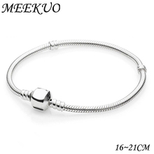 Buy 2018 New Antique Silver Snap Clasp Snake Chain Charm Fit pandora Bracelet Women Bangle European DIY beads Necklace CL01 for $1.24 in AliExpress store