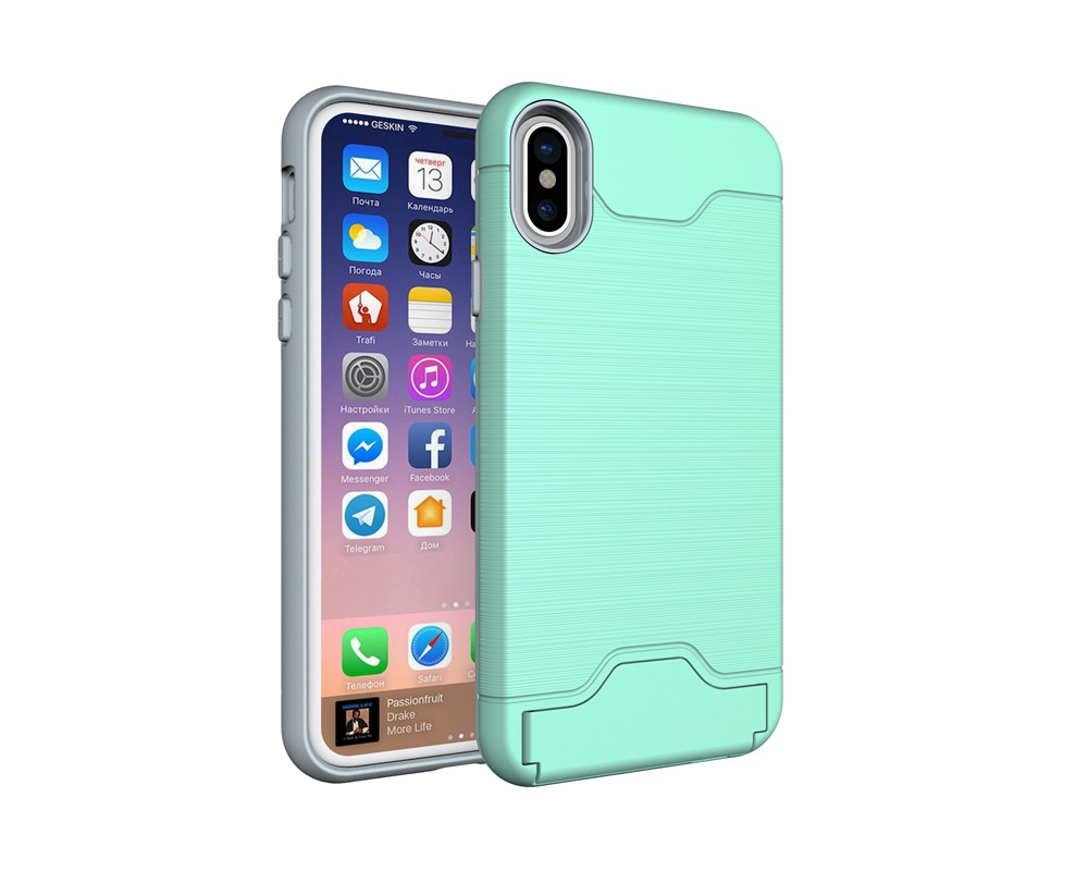 KEYSION Case For iphone X Shockproof cover for iPhone X Kickstand Armor Phone Bag Cases For iphone 10 Card Holder Coque 15