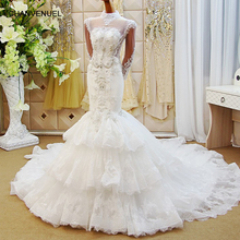 LS65002 wholesale mermaid wedding dresses tulle long sleeve backless beauty bridal wedding dressing gowns 2018 latest design(China)