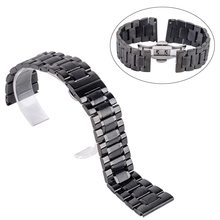 Shellhard New High Quality Silver Black Rose Gold Watchband Stainless Steel Butterfly Clasp Buckle Straight End Watch Band Strap(China)