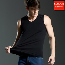 3 pcs Men all cotton Solid color seamless underwear clothing close-fitting broad shoulders V/O-neck vest comfortable undershirts(China)